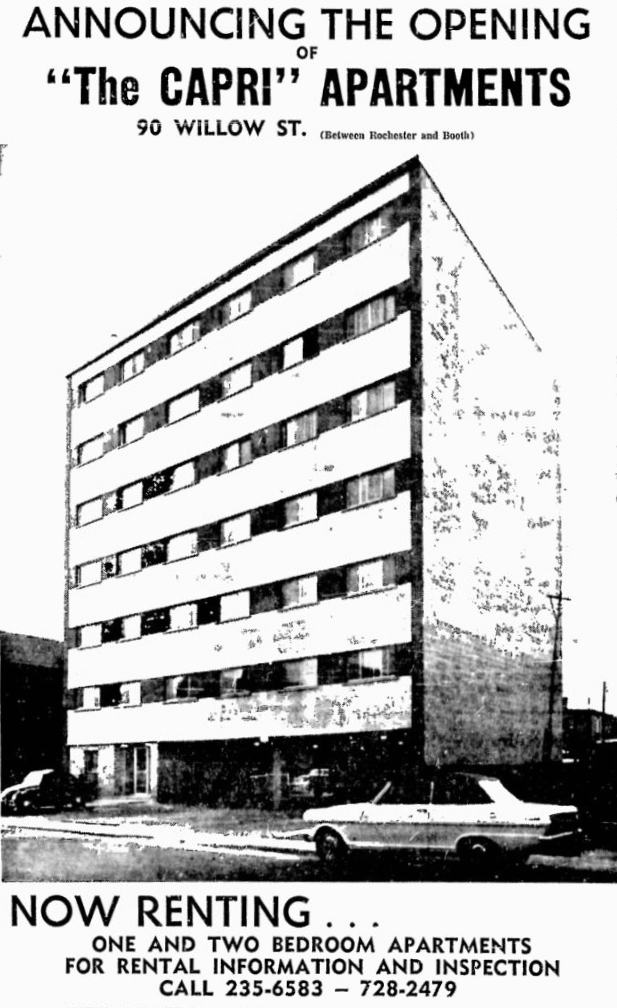 The Capri Apartmetns on Willow, never really entirely appreciated, was also a project of Harry Viner. Source: Ottawa Citizen, October 31, 1963, p. 2.