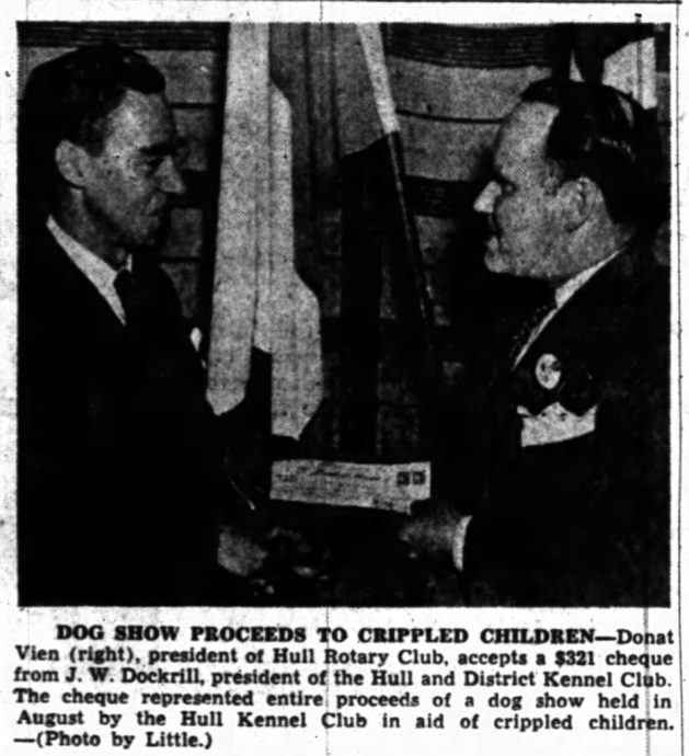 J.W. Dockrill was also charitable. Source: Ottawa Journal, October 15, 1948, p. 12.