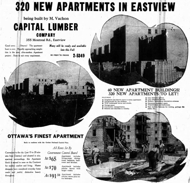 Vachon's vision was much larger than the eventual delivery. Where 40 buildings were planned, 14 were constructed. Source: Ottawa Journal, September 17, 1949, p. 34.
