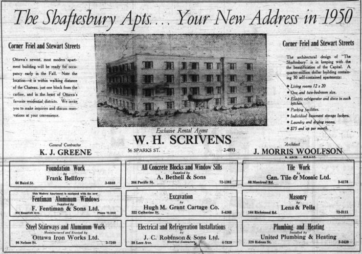 The Shaftesbury, a project of Wm. Scrivens and Ken Greene. Source: Ottawa Journal, January 21, 1950, p. 21.