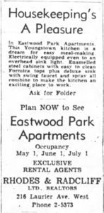"""Housekeeping's A Pleasure."" With Eastwood's many features, the amenities intended for women were placed front and centre. Source: Ottawa Journal, April 20, 1954."