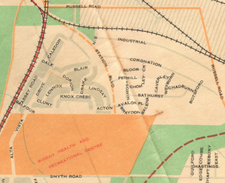Riverview Park as it appeared on the Federal District Commission map in 1954. Source: The National Capital: Ottawa and Environs. Ottawa: Federal District Commission, Information Office, National Capital Planning Committee, 1954.