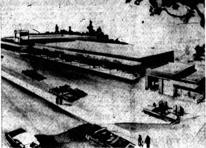 The Alta Vista Shopping Centre, as introduced to anxious Riverview Park residents. Source: Ottawa Journal, September 20, 1955, p. 16.