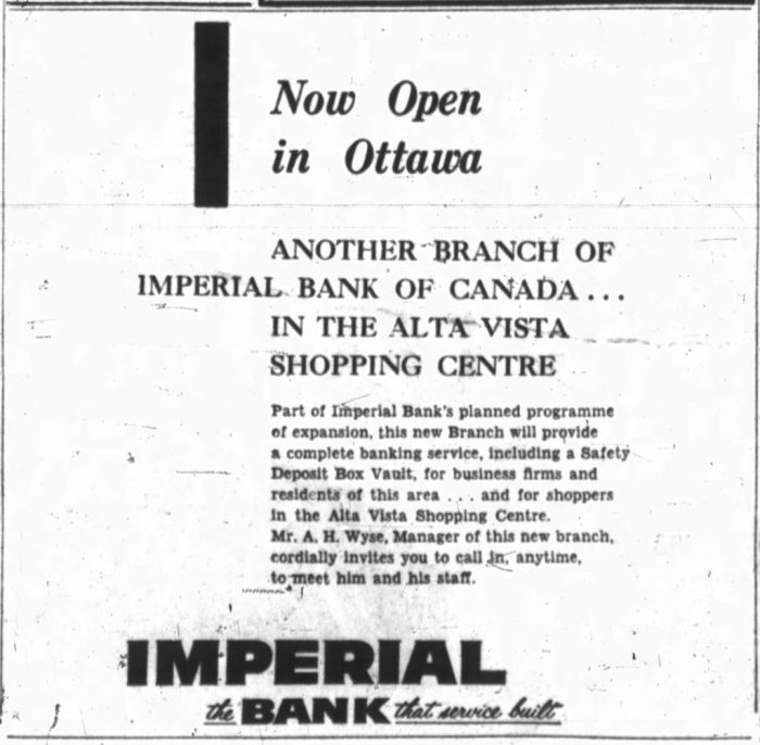 The Imperial Bank of Canada signed one of the first leases in the Alta Vista Shopping Centre. Source: Ottawa Journal, April 16, 1956, p. 12.