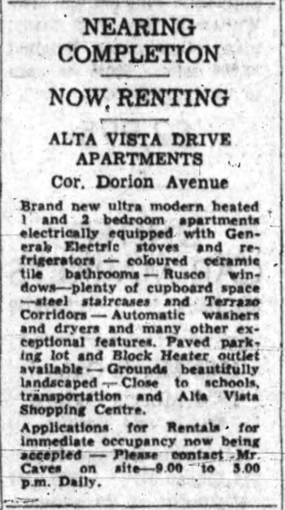 The one advertisement I have been able to find for the apartments. Source: May 4, 1956, p. 41.