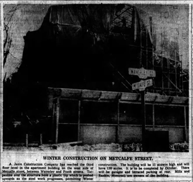 Construction of the Governor Metcalfe continued through the winter. Source: March 11, 1959, p. 39.
