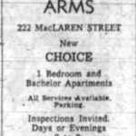 Ad for the Warren Arms. Source: Ottawa Journal, September 25, 1959, p. 40.