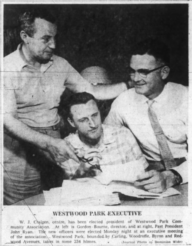 """""""Westwood Park"""" as a neighbourhood (or community) name did briefly catch on. Source: Ottawa Journal, June 13, 1961, p. 3."""