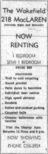 The Wakefield Apartments, now renting. Source: Ottawa Journal, July 4, 1962, p. 37.