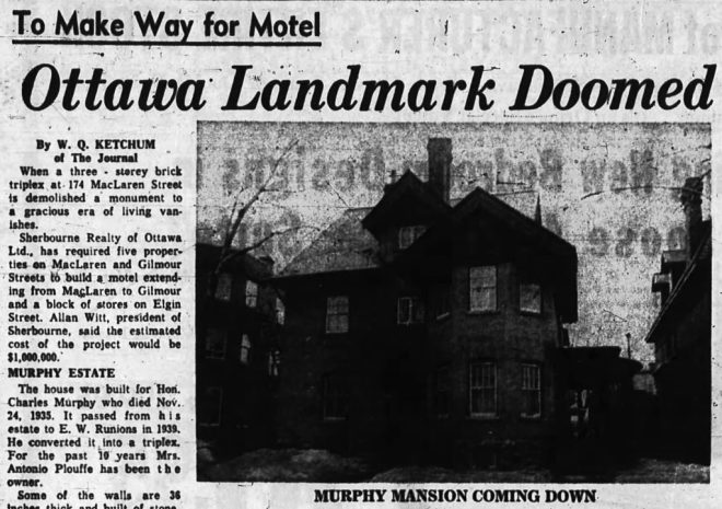 Witt's Hotel project was to cost Centretown the old Murphy Mansion. Source: Ottawa Journal, July 4, 1963, p. 3.