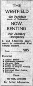 The Westfield's units began at $85 per month. Source: Ottawa Journal, November 13, 1963, p. 52.