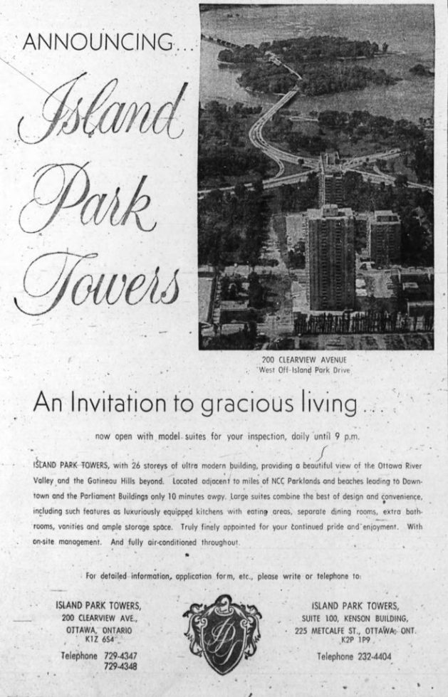 The third Island Park Tower opened in 1971. Source: Ottawa Journal, August 4, 1971, p. 38.