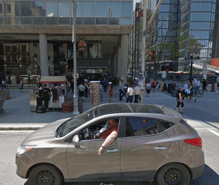 The south west corner of Bank and Sparks: roughly where the Embassy Restaurant would stand today, had it not been replaced by the C.D. Howe Building. Image: Google Maps (2015).