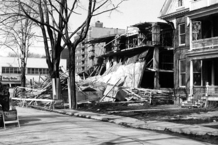 "Construction of the Bonaventure Apartments did not proceed without some difficulty. While under construction, on March 31, 1966, there was a partial collapse. Source: Robert Smythe. ""The Minto Park Disaster,"" URBSite (November 23, 2013)."