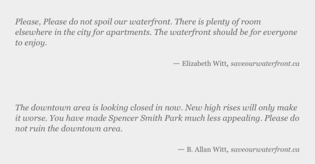 Perhaps most interestingly (given his past life) Witt has come out against a condominium development on Burlington's waterfront.