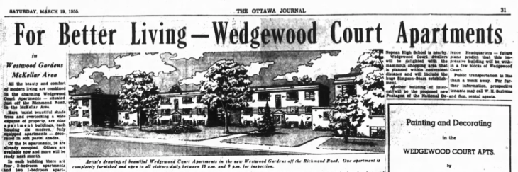 Ottawa is introduced to the Wedgewood Court Apartments. Source: Ottawa Journal, March 19, 1955, p. 31.