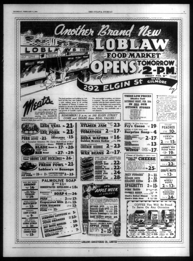 Construction of the new Loblaw's was completed quickly and the store opened on February 9, 1940. Source: Ottawa Journal, February 8, 1940, p. 7.