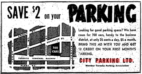 Advertisement run by Herman's City Parking Ltd. Source: Toronto Star, June 6, 1953, p. 31.