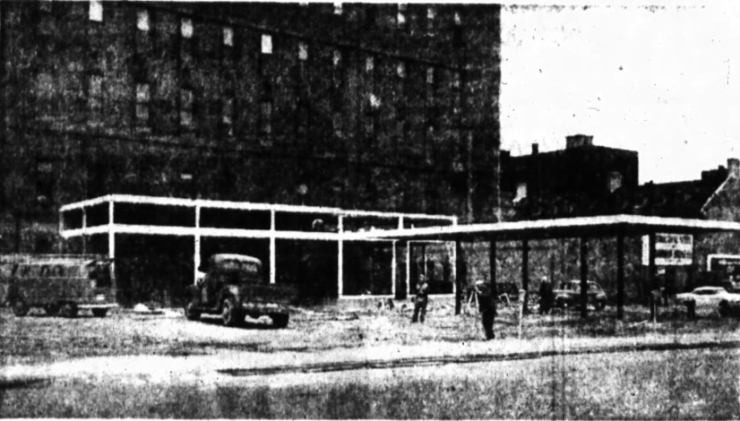 The picture is a poor quality one, but the combination BP and parking lot at the corner of O'Connor and Slater was owned by Bernard Herman's City Parking. Source: Ottawa Journal, May 20, 1958, p. 15.