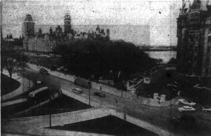 City Parking saw opportunities to park cars where others may not have. In 1959, the firm opened a new parking lot along the west side of Chateau Laurier. Source: Ottawa Journal, May 2, 1959, p. 4.