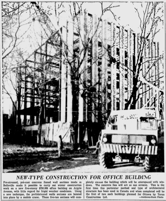 Teron used the same techniques for the office building on Argyle. Source: Ottawa Citizen, February 15, 1961, p. 3.