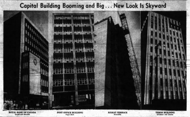 In 1961, the Capital looked upward. The new Royal Bank branch on Sparks, Postal Department at Confederation Heights, Rideau Terrace, and the Teron Building all went up that Spring. Source: Ottawa Journal, July 19, 1961, p. 21.