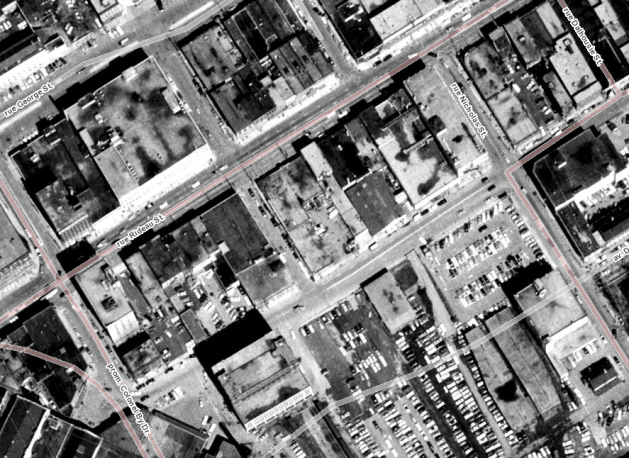 The National Capital Commission became interested in parking lots during the 1970s. Image: geoOttawa, 1965.