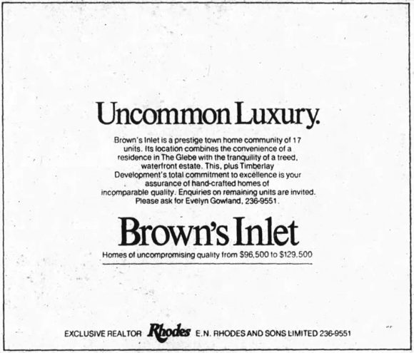 "Note that tag line: ""uncommon luxury"". Source: Ottawa Journal, July 22, 1978, p. 11."