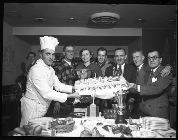 Andrews (far right) was a familiar face in the local papers. In this case, he poses for a picture at a dog derby reception held at his Embassy Restaurant in 1954. Image: City of Ottawa Archives, Item CA003155, February 9, 1954.