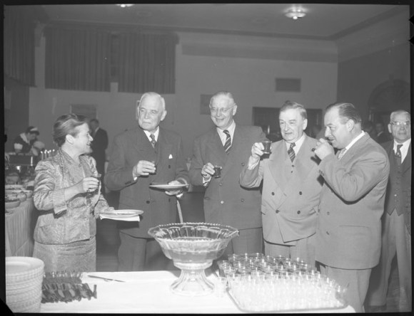 """This had better be non-alcoholic punch."" Charlotte Whitton with a group of premiers, including Leslie Frost, who was a frequent target of Temperance-supporting letters from Charlotte Whitton. Image: City of Ottawa Archives, Item CA034612, October 5, 1955."