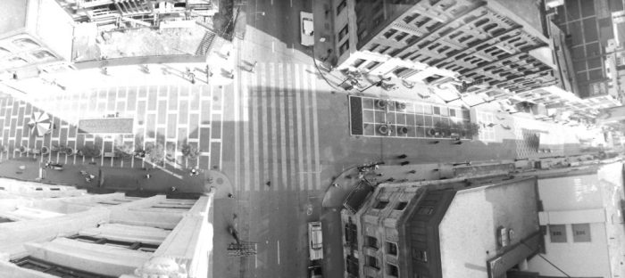Ted Grant and a bird's eye view of the Sparks and Metcalfe intersection. Image: Ted Grant / LAC 1961.