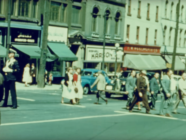 """Still from """"Safe Driving"""" (1949) showing Karson's on Rideau."""
