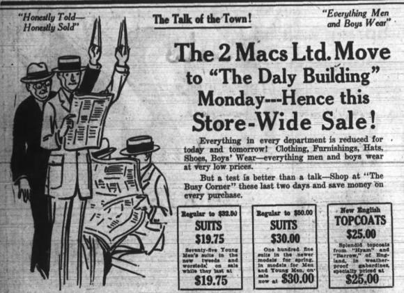 The 2 Macs bid The Busy Corner farewell in April 1923. Source: Ottawa Journal, April 27, 1923, p. 18.