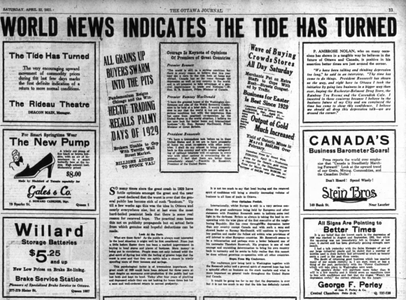 As the Depression reached its depth in 1933, demonstrations of faith in improvement were run in the local papers. Source: Ottawa Journal, April 22, 1933, p. 11.