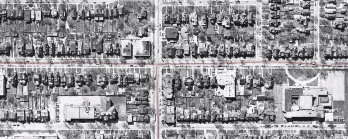 Jameson Avenue, as it appeared in 1956. Image: Detail of City of Toronto Archives, Series 12, Image 185.