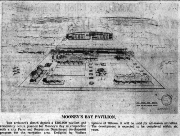 Wallace C. Sproule's 1959 Mooney's Bay Pavilion. We weren't blessed with it. Source: Ottawa Journal, February 7, 1959, p. 4.