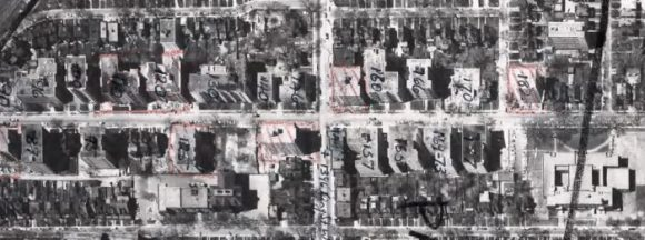 Jameson Avenue, as it appeared in 1960. Image: Detail from City of Toronto Archives, Series 12, 1960, Image 36.