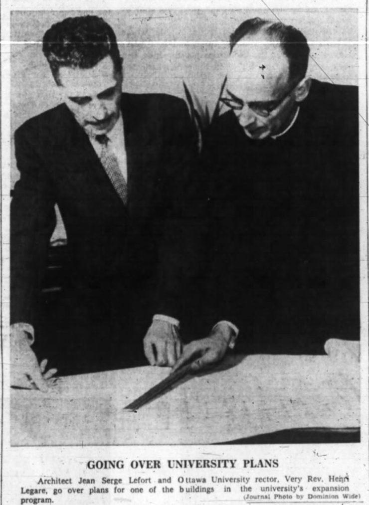 Jean-Serge LeFort with University of Ottawa Rector Henri Legare. Source: Ottawa Journal, June 3, 1961, p. 17.