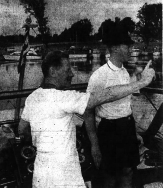 Auguste Martineau points out the way for his son Jean. Source: Ottawa Journal, September 13, 1961, p. 21.