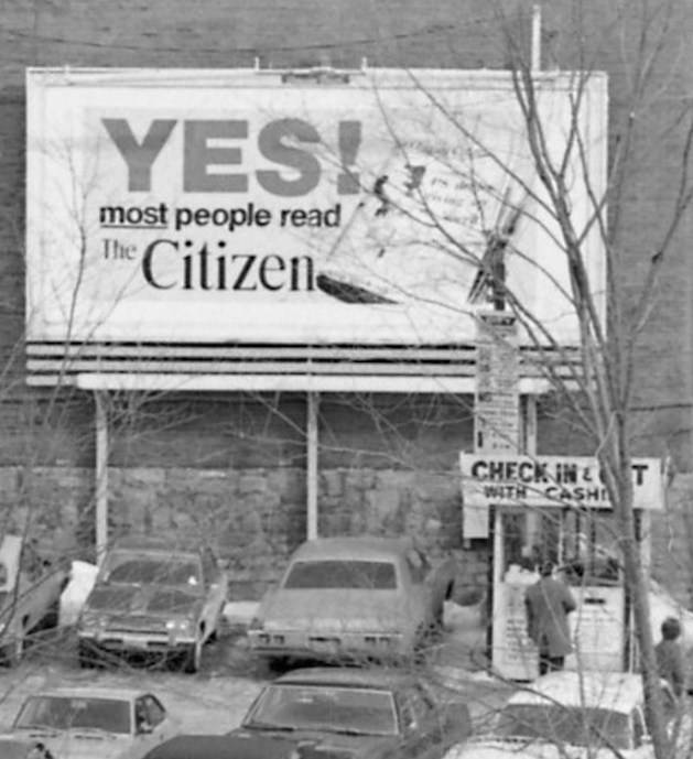 Detail from the shot. Notice the distinctive City Parking rate board. Image: Bill Cadzow / CMHC 1973-102, Image 4.