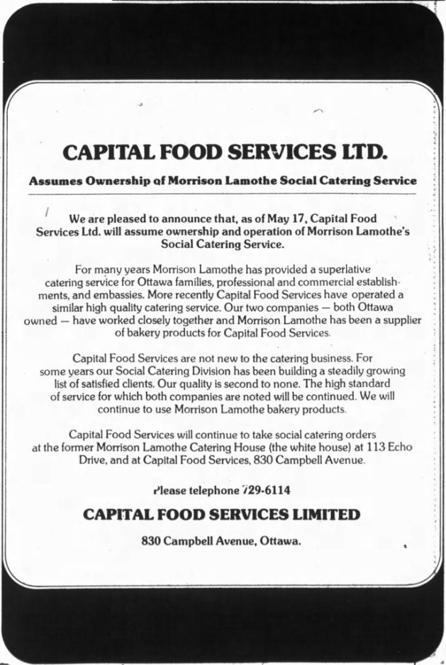 Capital Food Service: the new owner of Morrison-Lamothe's Social Catering Service. Source: Ottawa Journal, May 22, 1976, p. 15.