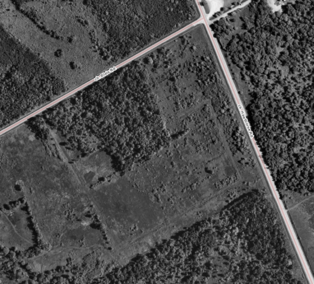 It's a little difficult to make out, but the dirt roads Athans had roughed out for her 1982 plans remained visible in 1991. Image: geoOttawa.