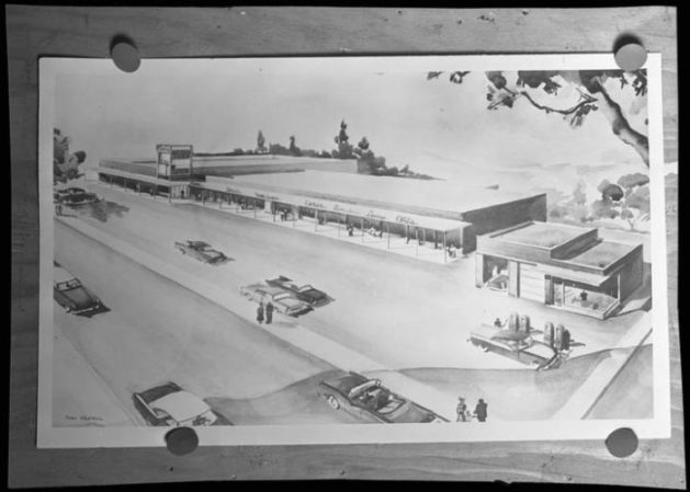 Pinned up. A small print of a sketch of the Alta Vista Shopping Centre. Source: City of Ottawa Archives CA0360360.