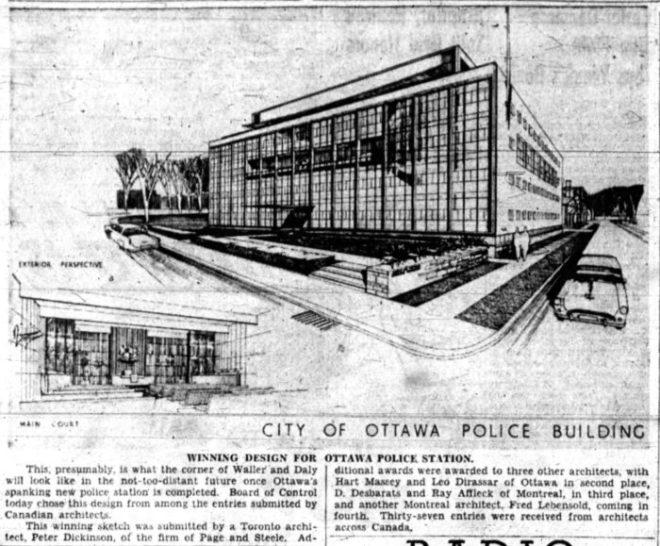 Peter Dickinson's winning design was announced on November 14. Source: Ottawa Journal, November 15, 1954, p. 26.