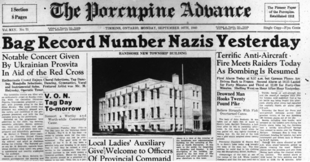 The new municipal building opened as the Second World War raged. Source: Porcupine Advance, September 16, 1940, Page 1.