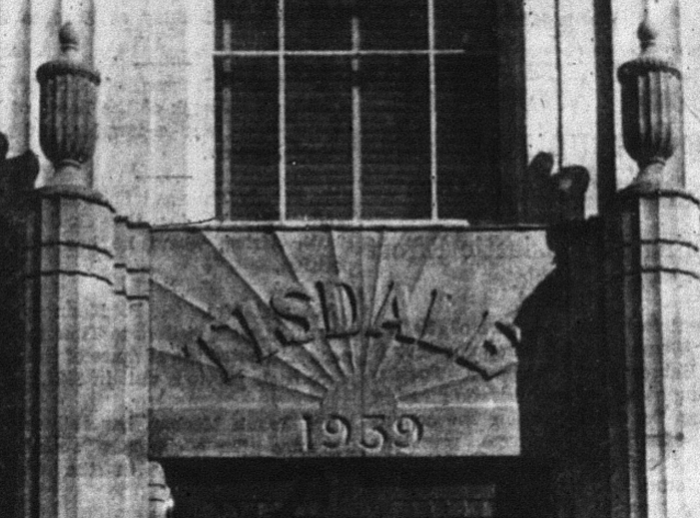 The stone above the entrance of the Municipal Building. Source: Porcupine Advance, September 26, 1940, p. 3.