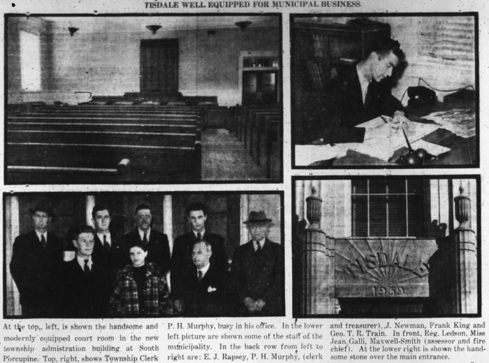 Once the municipality had moved into the building, the Advance ran a feature over several pages. Source: Porcupine Advance, September 26, 1940, p. 3.