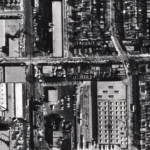 The site as it appeared in 1965, when the picture above was taken. The GE plant is at the top left, and the Lansdowne Carhouse at the bottom right. Image: City of Toronto Archives, Series 12, Image 83 (1965).