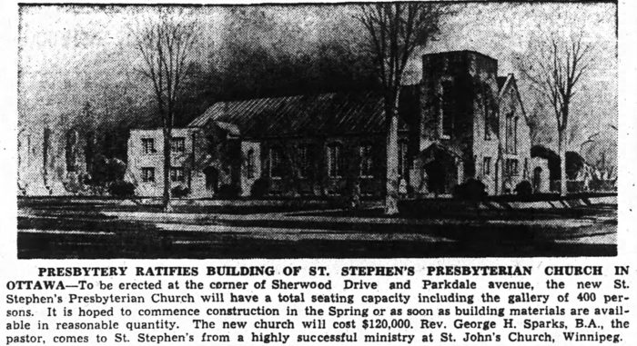Abra & Balharrie's sketch of St. Stephen's as run in the local papers. Source: Ottawa Journal, January 22, 1946, p. 7.