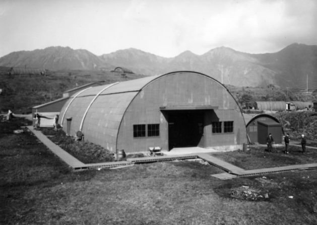The Dominion constructed two of what would be many Quonset huts on Lydia Avenue (now Orangeville). Image: Wikimedia Commons.